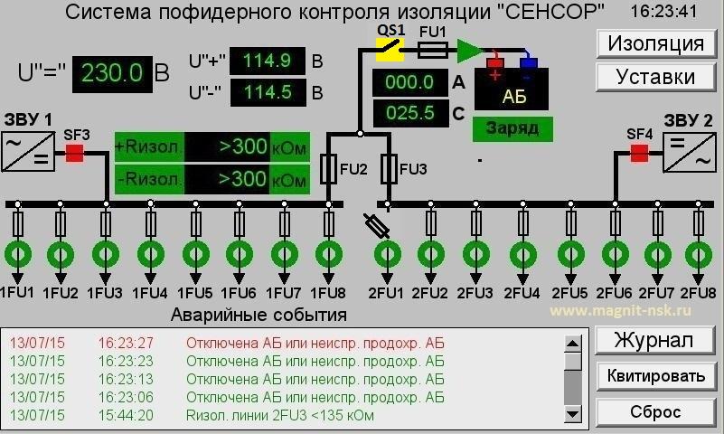 Аварийное отключение аккумуляторной батареи - контроль сети постоянного тока