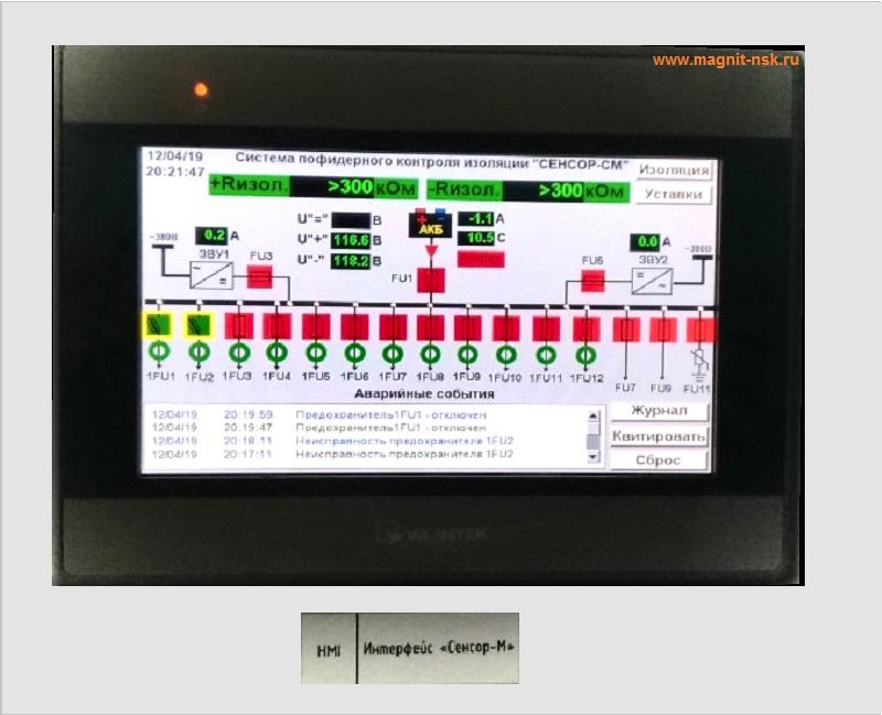 Контроль сети постоянного тока - отображение параметров